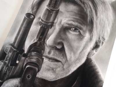 Han Charcoal Portrait harrison ford blaster realism texture drawing portraiture charcoal the force awakens han solo star wars