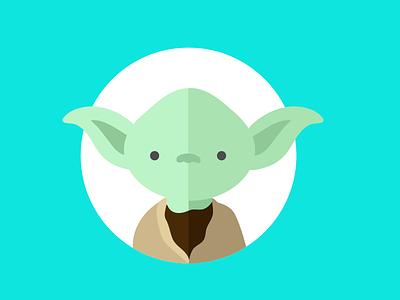 Yoda character flat color star wars illustration yoda cute