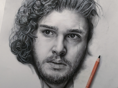 Jon Snow Charcoal Work in Progress realistic realism black and white face texture hair portrait drawing charcoal game of thrones jon snow