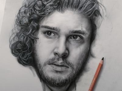 Jon Snow Charcoal Work in Progress