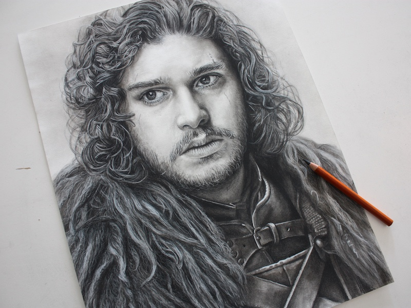 Jon Snow Charcoal Portrait beard hair texture drawing kit harington game of thrones realistic detail black and white jon snow portrait charcoal