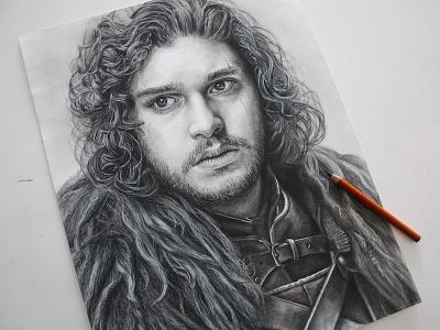 Jon Snow Charcoal Portrait beard hair texture drawing kit harington game of thrones realistic detail black and white jon snow portrait charcoal