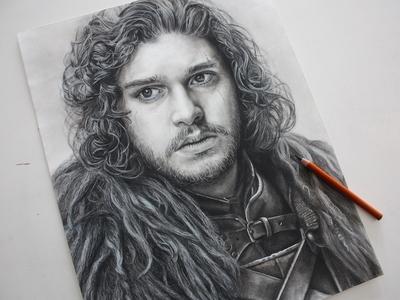Jon Snow Charcoal Portrait