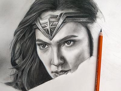 Wonder Woman WIP texture hair face pencil monocromatic blackandwhite portraiture portrait hyperrealism realism realistic drawing charcoal charcoaldrawing illustraion dc comics wonder woman