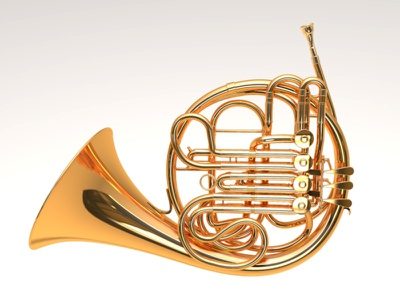 French Horn 3d music metal band brass instrument french horn