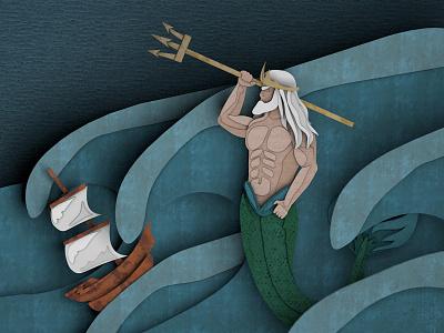 Pandora's Box Illustration (Poseidon) paper poseidon water ship waves mythology 3d cut paper greek gods merman trident mermaid