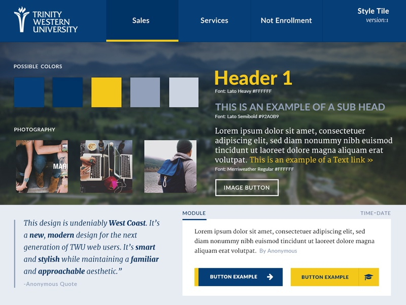 Style Tile for TWU: V1 style tile design web ui interface test example module typography blue gold