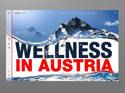 Austrian wellness centres concept site mountains landing art design designer desktop webdesign website uiux austria wellness
