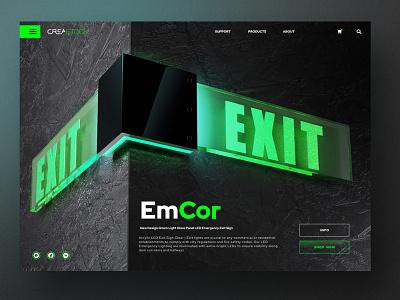 New emergency light panel promo page ux landing designer shop website webdesign branding ui design website webdesign