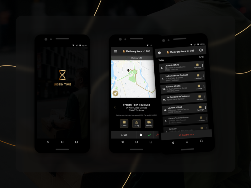 Justin Time package runner delivery darkmode android app android app ux ui mobile app design uiux