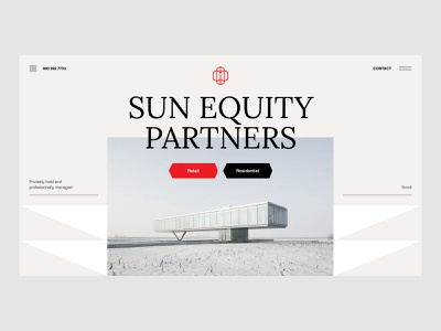 Sun Equity Partners web design corporate investment letters minimal big typography ui hero section hero image landing company developement realestate architecture bright creamy preset red brown pattern triangle