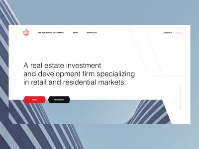 Sun Equity Partners ui ux typography modern scroll intro screen hero image header big photo creamy clean geometric design dark red real estate home landingpage geometric lines diagonal lines