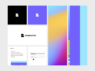 Breakout List branding concept icon logo design arrow logo branding design identity brand guidelines gadient multi color violet simple code line startup developers coding b logo mark b logo logotype logo branding
