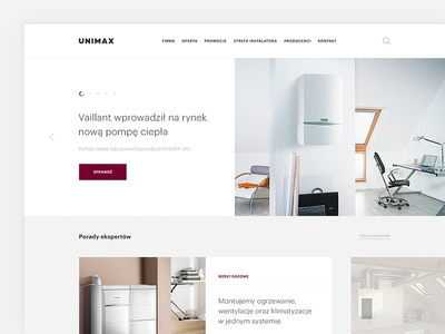 Unimax Website webdeisgn home page architecture interior unimax products heating industry search menu news slide clean white photo webdesign ux ui design web