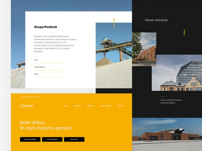 Pozbruk Group web design buildings company products portfolio architecture conrete corporate design landing design landing page ux photo news content ui black scroll clean picture