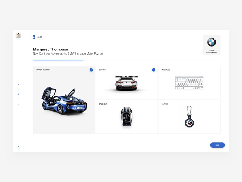Dashboard Game 02 cars online game gamification campaign dealer employer branding blue icons bmw dashboard fullscreen menu modern simply clean cards white ux designer ui  ux ui