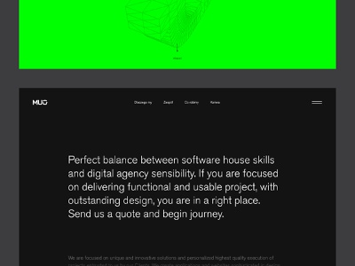 MUG About page website agency modern ui ux webdesign 3d hamburger green clean big typography black about