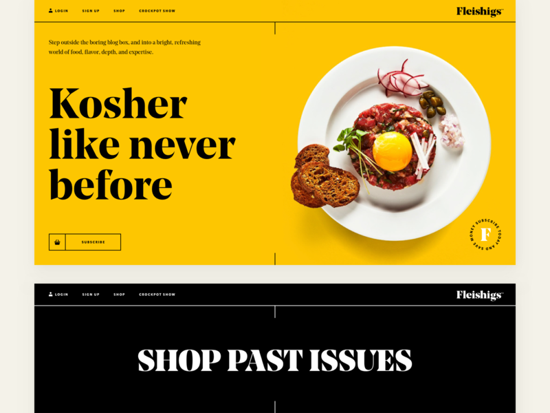 Fleishigs - Landing subscribe magazine issue meat cook foodie branding web clean landing page kosher uidesign fullscreen yellow typography food mobile landing ux ui