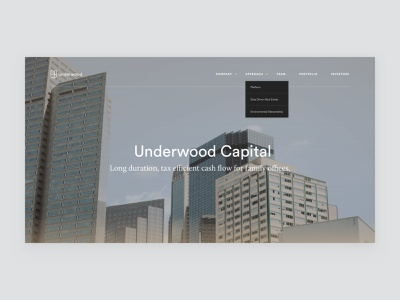 Underwood Capital financial houses offices money platform investment estate ux page layout webdesign finance capital city buildings typography gold dropdown menu detail gradient real estate