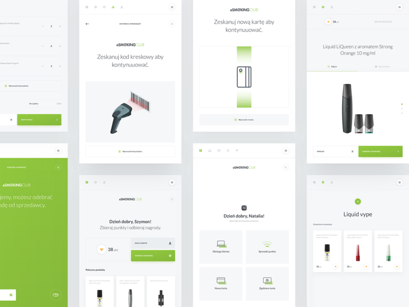 ESW - Dashboard Overview liquid sales management shopping summary green gradient icons minimal app product page shopping basket popup statistics search login dashboard design clean vector ux
