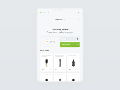 ESW - User & Admin Dashboard products sales liquid sales management user account fullscreen tablet application loyalty program points data dashboard icons app modern design clean ux ui