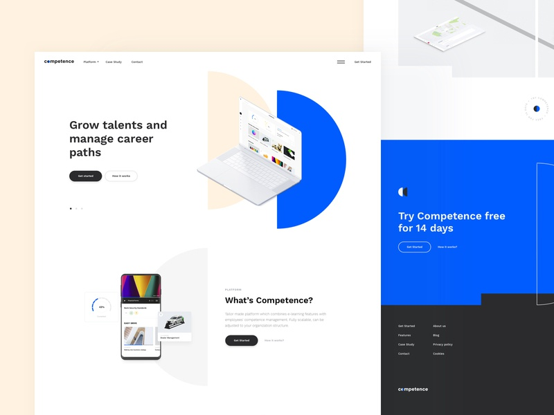 Competence header design minimal clean ui ui ux modern branding and identity clean videos management app platform design hr software human resources one page onepage landingpage landing design landing website