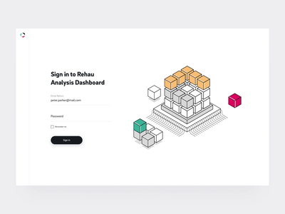 Rehau Analysis - Login Page illustration motion graphic buttons motion dashboard login dashboard ui login page input field animation isometric clean website button web ui ux management app analysis analitycs motion design