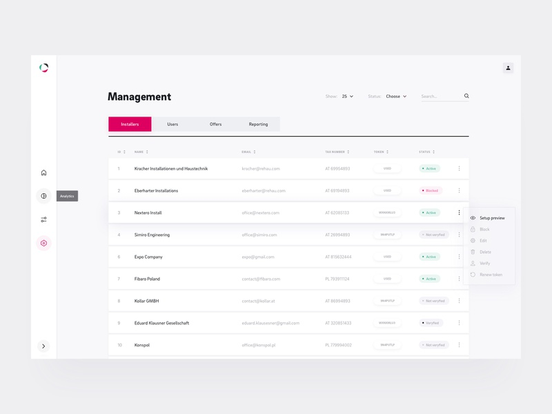 Rehau Analysis - Management Dashboard type tooltip ux ui ui design menu hover dropdown status managment management app manage search tabs menu design menu bar tables dashboard design dashboard ui dashboard app ui ux