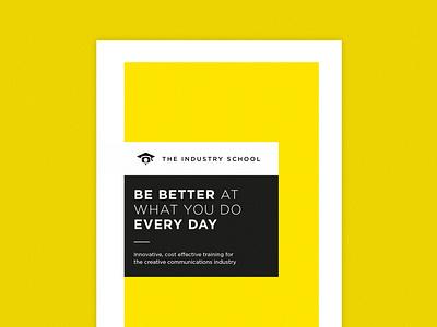 Industry School Leaflet Cover leaflets leaflet design minimal yellow flyer print typography design