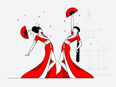 Japan digital painting art direction kimono pagoda red fan geisha japan drawing illustration