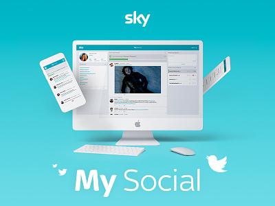 SKY   My Social play pause ux ui tweet twitter sky tv tv programs social digital art direction