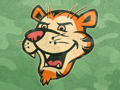 Tiger tiger cartoon camo sports illustration logo mascot