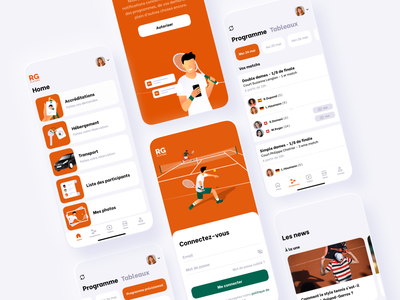 RG players rolandgarros tennis android apple mobile app characterdesign character green orange color branding sketch illustration uxui ux app mobile