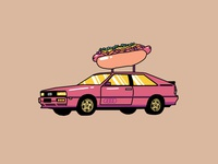 Audi Quattro with a Hot Dog on Top