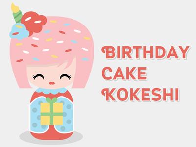 Kokeshi Doll - Birthday Girl kokeshi doll birthday present sprinkles japanese kawaii vector