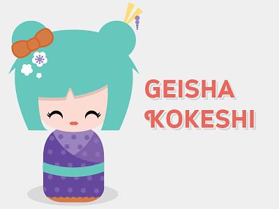 Kokeshi Doll - Geisha kokeshi doll japanese geisha chopsticks kawaii vector illustration