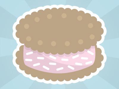 Ice Cream Sandwich dessert sweets ice cream sandwich sprinkles kawaii vector