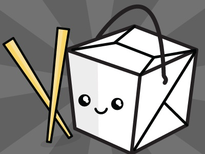 Chopsticks & Takeout chopsticks takeout box japanese chinese food kawaii vector