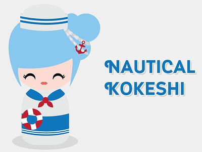 Kokeshi - Nautical Girl nautical anchor sailor buoy doll kokeshi japanese kawaii cute vector