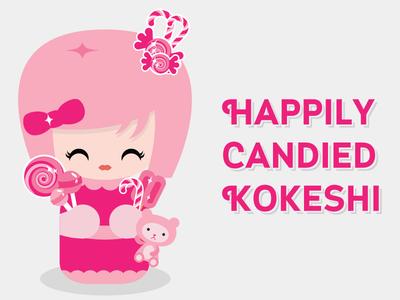 Happily Candied Kokeshi kokeshi doll cute kawaii japanese happily candied candy cane candy sucker lollipop bear pink