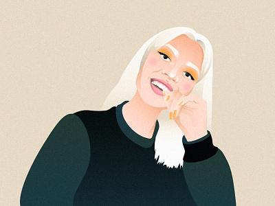 Blond eyes blonde blondie portrait art nails eyeshadow portrait blond grain girl character illustration woman