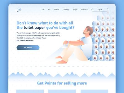 Paper Man uxui ux ui selling covid19 landing page illustration toilet paper logo branding concept design website web man paper toilet