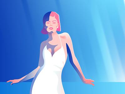 Day N Night vector branding girl character woman flat illustration
