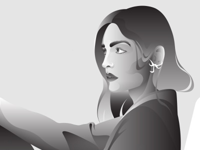 Portrait design concept vector girl character woman flat illustration