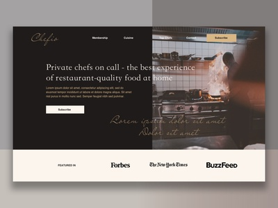 Landing page for Chef service concept hero mock up mockup concept service subscription web web ui website design website restaurant chefs chef food membership luxurious luxury hero section hero image landing page hero