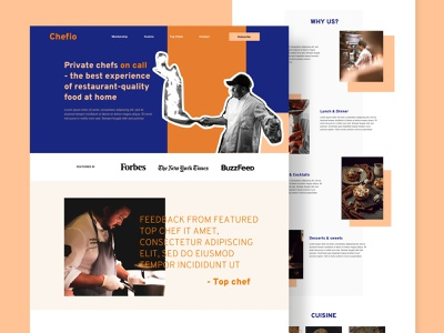 """Chefio - Concept Landing Page - """"Bold & Edgy"""" interface desktop selector hero wireframe high fidelity page web website services food chef meal colorful fun edgy bold homepage"""