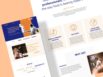 """Chefio - Concept Landing Page - """"Bold & Edgy""""  full view ui ux hero web design colorful fun modern edgy concept startup proposition value landing page design landing page website high fidelity bold wireframe template brand identity branding"""