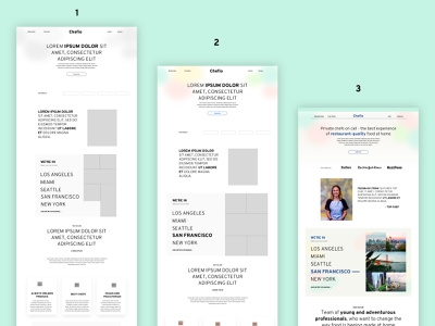 Landing page in 3 steps service food chef trends 2021 gradient branding ui concept fidelity high fidelity value proposition startup hero webdesign landing page wireframe low fidelity work in progress progress
