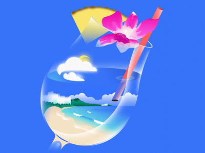Blue Hawaii - Oahu - Cocktail water sea cup honolulu hawaii editorial palms palm ocean blue glass usa island travelling travel cocktail concept design flat illustration