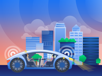 Future of cars design intelligence artificial ai skycrapers gradient illustration automotive car futuristic future